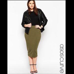 ASOS CURVE Bodycon Olive Green Midi Skirt